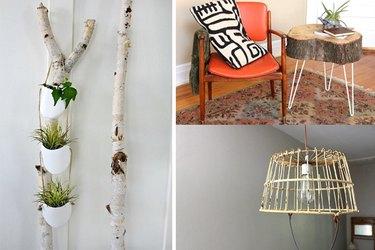 collage of hanging plant holder, tree stump end table, basket pendant light