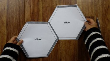 Joining templates to make popsicle stick hexagon shelves.