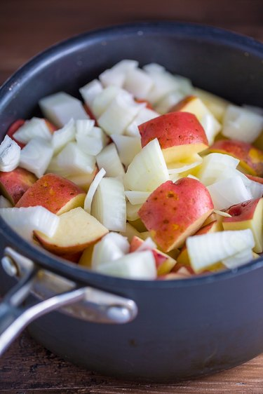 Boil onions and potatoes