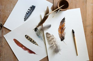 A painting of bird feathers.