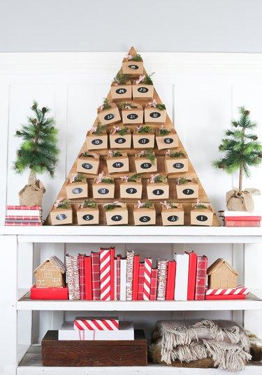 Wooden tree advent calendar.