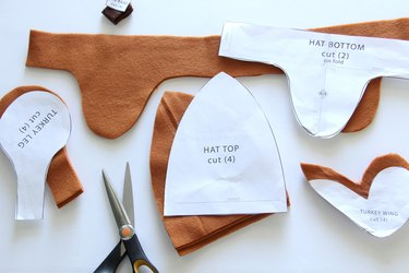 cut out all turkey hat pattern pieces