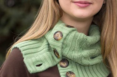 Finished cowl worn by model