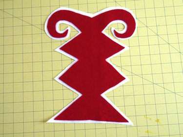 The red design with a white felt border.