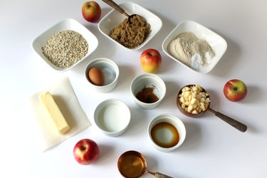 Supplies for spiced apple oatmeal cookies