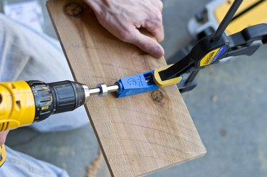 Create pocket holes to join the wood together.