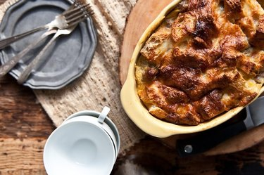 A dish of browned make-ahead beer and sausage breakfast bake.