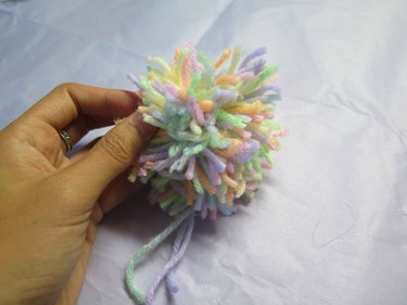 What the yarn looks like after cutting.