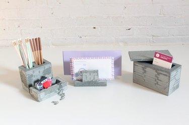 Concrete desk organizers.