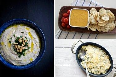 Hummus dip, nacho cheese dip, kale and artichoke dip