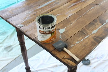 With only one coat of stain and polyurethane you can achieve a beautiful wood finish.