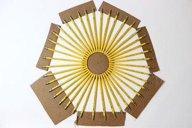 All Pencils Glued Onto the Cardboard