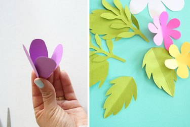 forming a funnel shape with flower and folding paper leaves