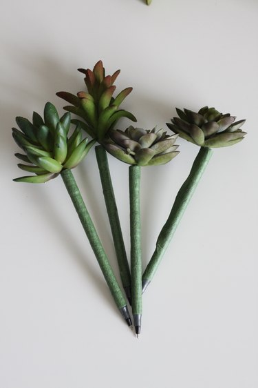Succulent pens with base wrapped in floral tape