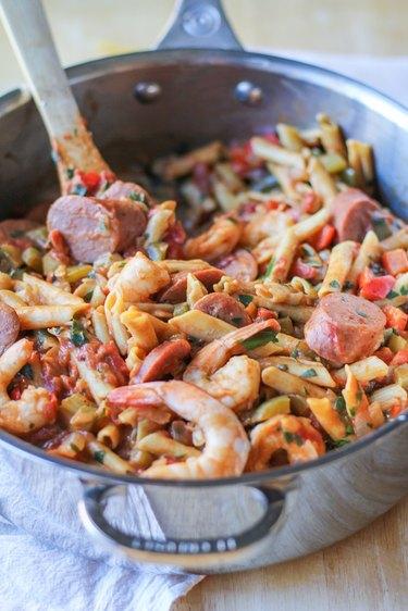 Pot of shrimp gumbo pasta