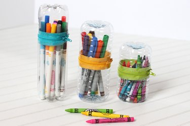 Organize crayons and pens in no-sew zipper cases