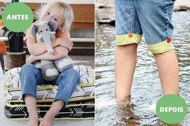Antes e depois das calças transformadas em bermudas