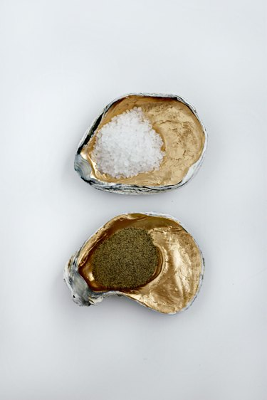 Oyster shell salt and pepper holder