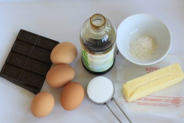 Ingredients for molten chocolate lava cake.