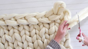 when you get to the last loop cut the yarn leaving 12 inches