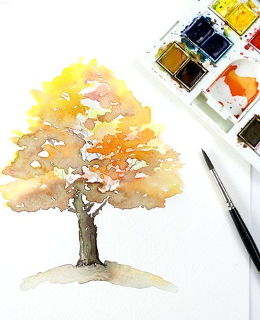 Final watercolor painting of a fall tree