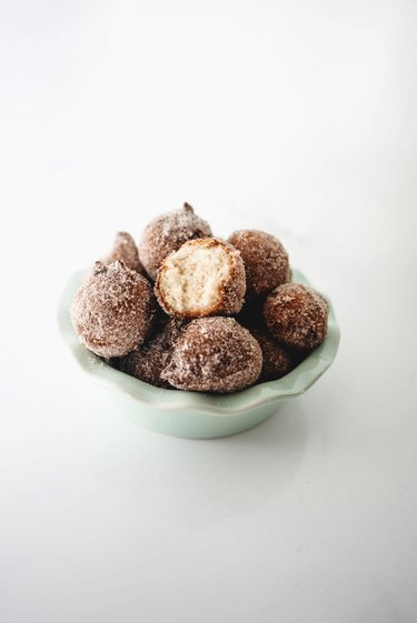 Donut Holes set out in a small bowl for serving.
