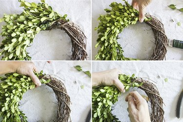Attach bundle to middle of grapevine wreath.