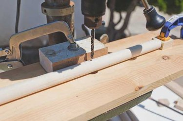 Drilling a hole into the dowel