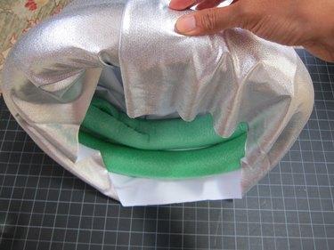 Wrap silver spandex around the noodles