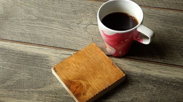 DIY easy coffee wood stain tutorial
