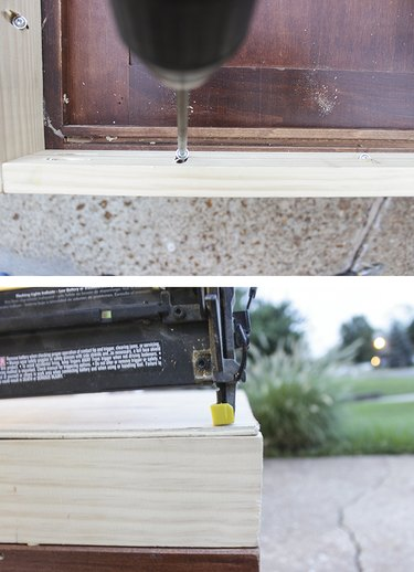 Screw desk base to cabinet face and attach plywood bottom with nails
