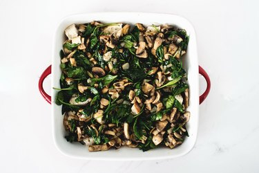 Add in the greens from the pan mixture.