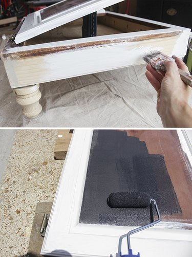 Paint desk with white latex paint, paint chalkboard surface on middle of cabinet door.