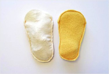 Soles stitched with toe open