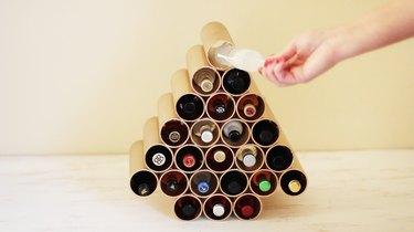 Filling advent calendar with mini liquor bottles