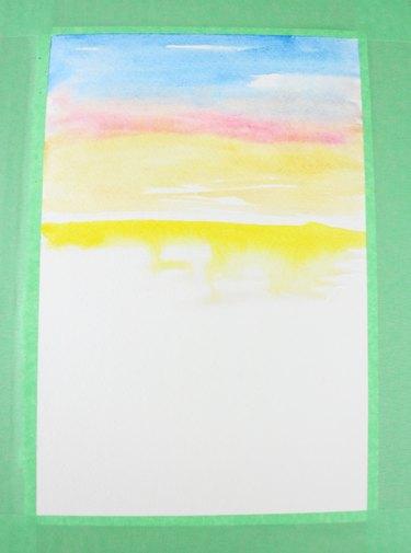 Paint yellow below the horizon line.