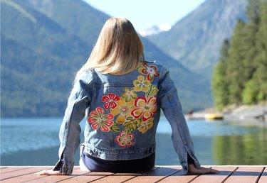 finished floral print jean jacket