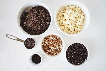 Ingredients measured in bowls.