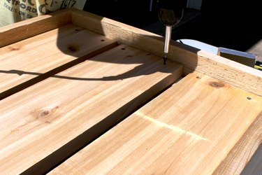 """drill the 34 1/4"""" wood planks to create box bottom 