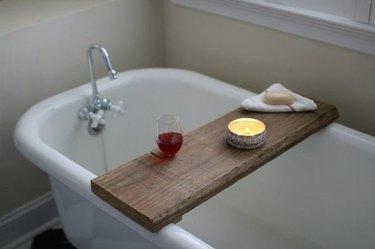 Reclaimed wood bath caddy