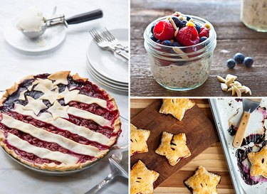 Assorted desserts that celebrate the Fourth of July.