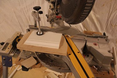 Miter Saw with Scraps and Clamp