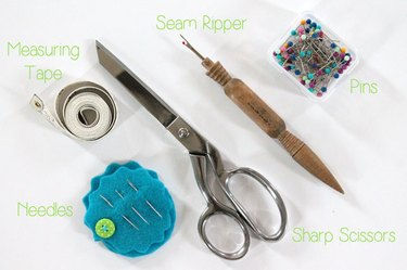 labeled sewing tools