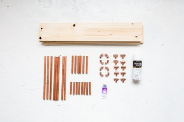 DIY Standing Copper Pipe and Pine Shelf Materials