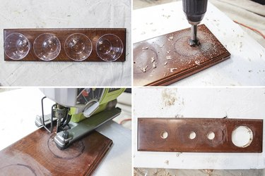 Drill 4 holes in drawer face using jigsaw