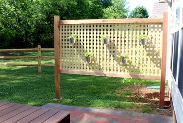 A lattice work privacy screen outdoors