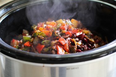Chili ingredients in a slow cooker