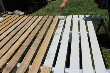 Using exterior paint and primer for stakes.
