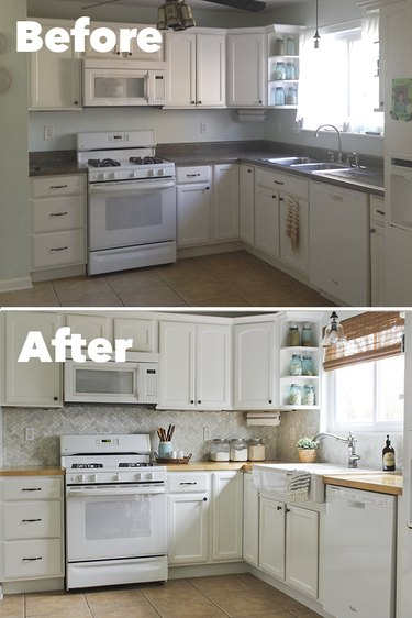 Before and after of kitchen with backsplash.
