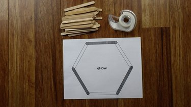 Printed popsicle stick hexagon shelf template